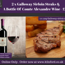 2 x Galloway Sirloin Steaks & A Bottle Of Wine (1)