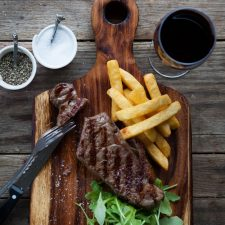Sirloin Steak, chips and red wine